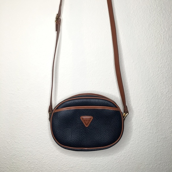 Guess Handbags - Guess Vintage Leather crossbody Bag Navy / Brown